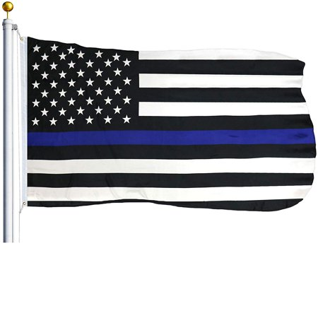 G128 - Thin Blue Line U.S. American Flag 3X5 FT Printed Stars Stripes Brass Grommets Polyester Honoring Men and Women of Law Enforcement Black White and Blue US