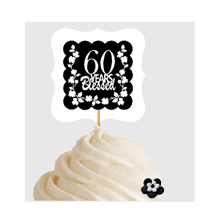 60th Birthday / Anniversary Blessed Cupcake Decoration Toppers Picks -12ct
