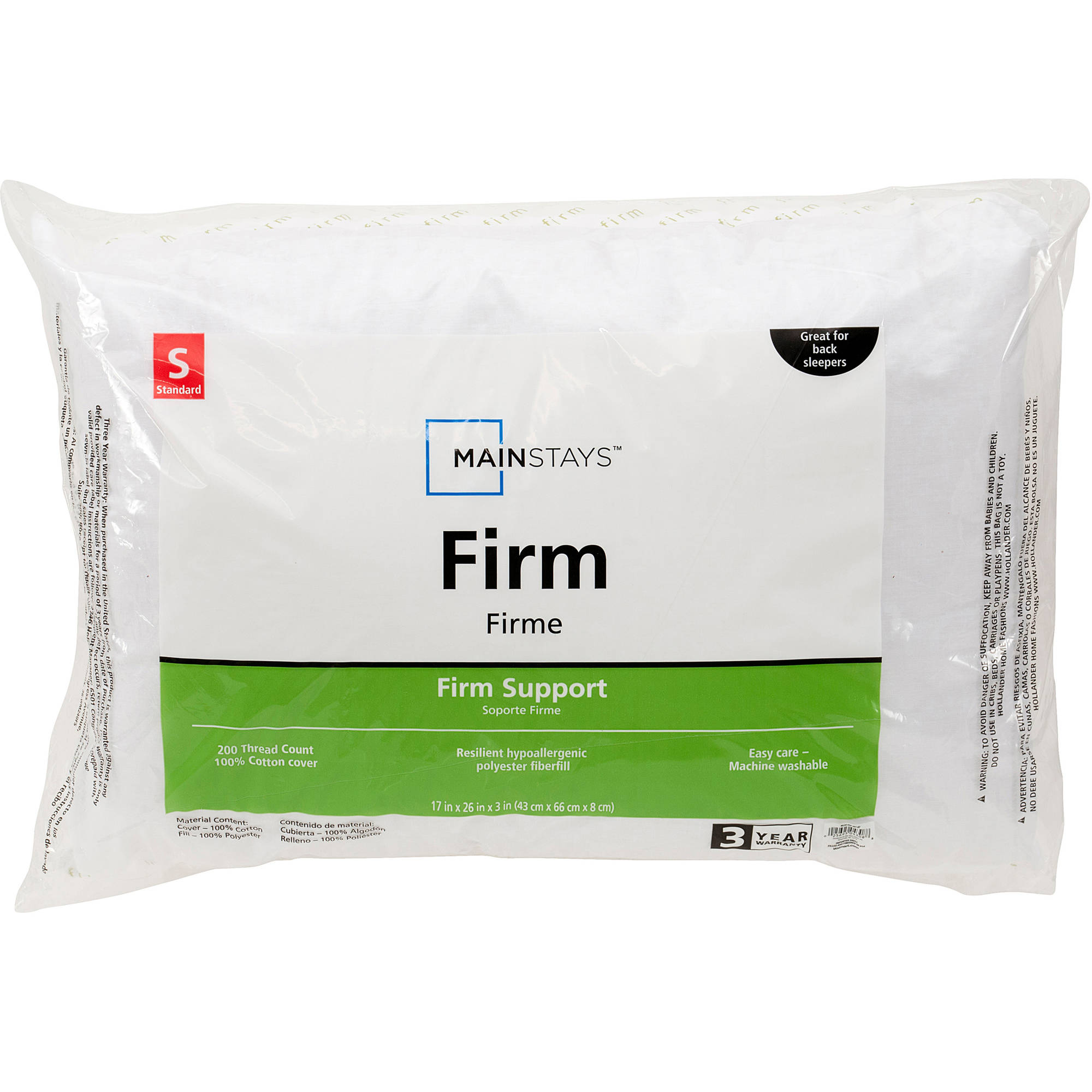 Mainstays 200TC Cotton Firm Pillow in Multiple Sizes