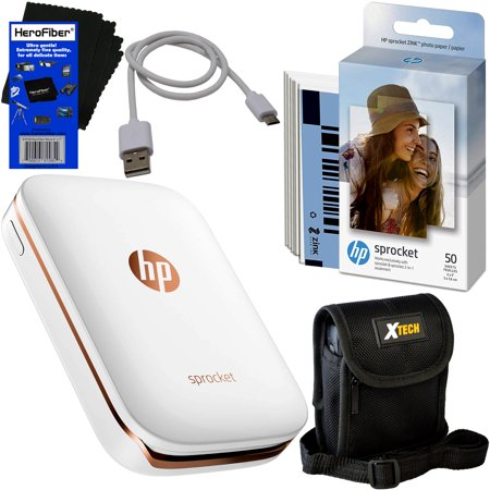 HP Sprocket Photo Printer, Print Social Media Photos on 2x3 Sticky-Backed Paper (White) + Photo Paper (60 sheets) + Protective Case + USB Cable + HeroFiber® Gentle Cleaning