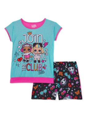 L.O.L. Surprise! Girls Exclusive 4-12 Short Sleeve & Matching Shorts Pajama Set