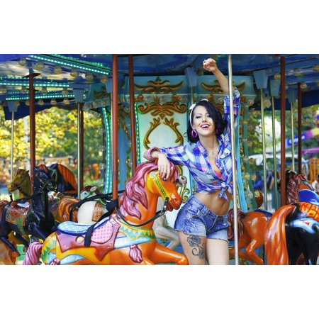 Canvas Print Young Woman Beautiful Person Hair Finger Carousel Stretched Canvas 10 x 14