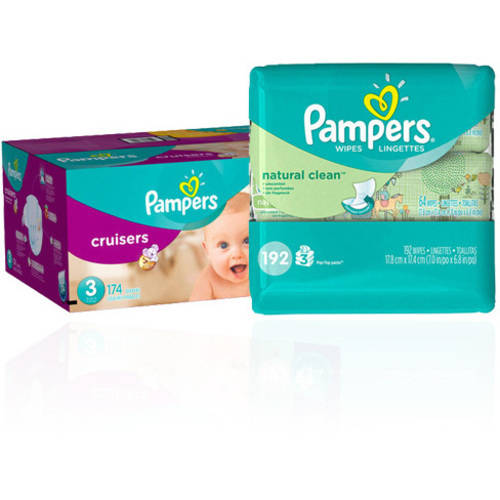 Pampers Cruisers One Month Supply & Pampers Baby Wipes Bundle (Choose Size/Wipes Count)