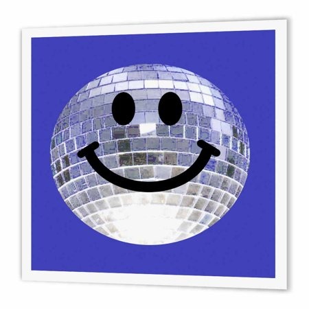 3dRose Silver Disco Ball Smiley Face - seventies 70s style Discoball Dance hall diva - on Blue background, Iron On Heat Transfer, 10 by 10-inch, For White Material](70s Disco Dances)