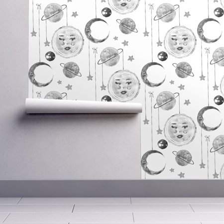 Halloween Full Moon Wallpaper (Peel-and-Stick Removable Wallpaper Watercolor Sky Monochrome Moon Moon)