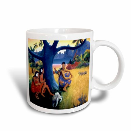 3dRose Picture Of Colorful Gauguin Polynesian Landscape Painting With Ladies n Dog, Ceramic Mug, 15-ounce