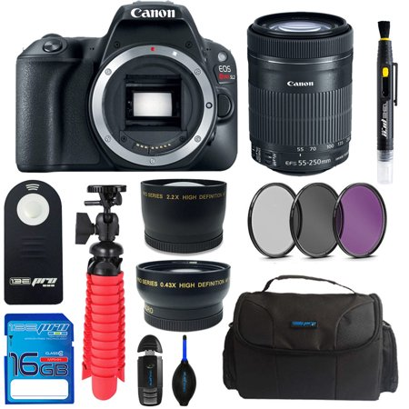 Canon EOS Rebel 200D/SL2 DSLR Camera (Black) + Canon 55-250mm STM Lens + Pixi Basic Bundle Kit