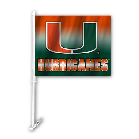 Ncaa Door Flag - NCAA Miami Hurricanes Ombre Car Flag