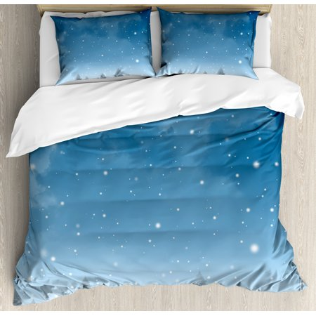 Winter Queen Size Duvet Cover Set, Christmas Inspired Cold Blue Forest of Pine Trees on a Snowing Holiday Night Sky, Decorative 3 Piece Bedding Set with 2 Pillow Shams, Blue White, by Ambesonne ()