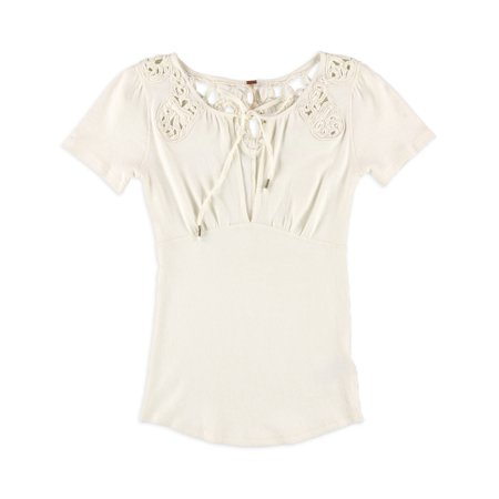 Free People Womens Front Keyhole Pullover Blouse ivory S