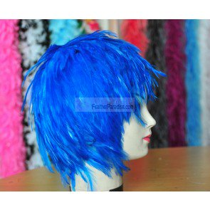 Dark Turquoise Hackle feather Wig Halloween Costume Wig Blue Bird Costume](Feathered Wig)
