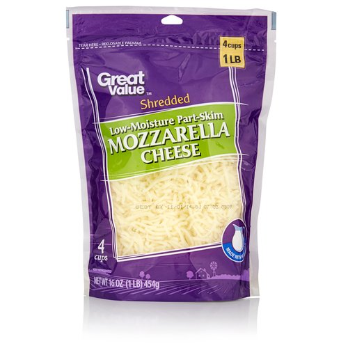 Great Value Shredded Low-Moisture Part-Skim Mozzarella Cheese, 16 oz