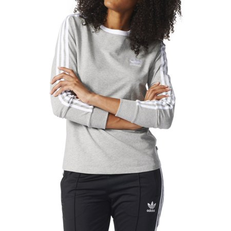 2b7d786f8 adidas - Adidas Originals 3-Stripes Longsleeve Women's T-Shirt Grey ...