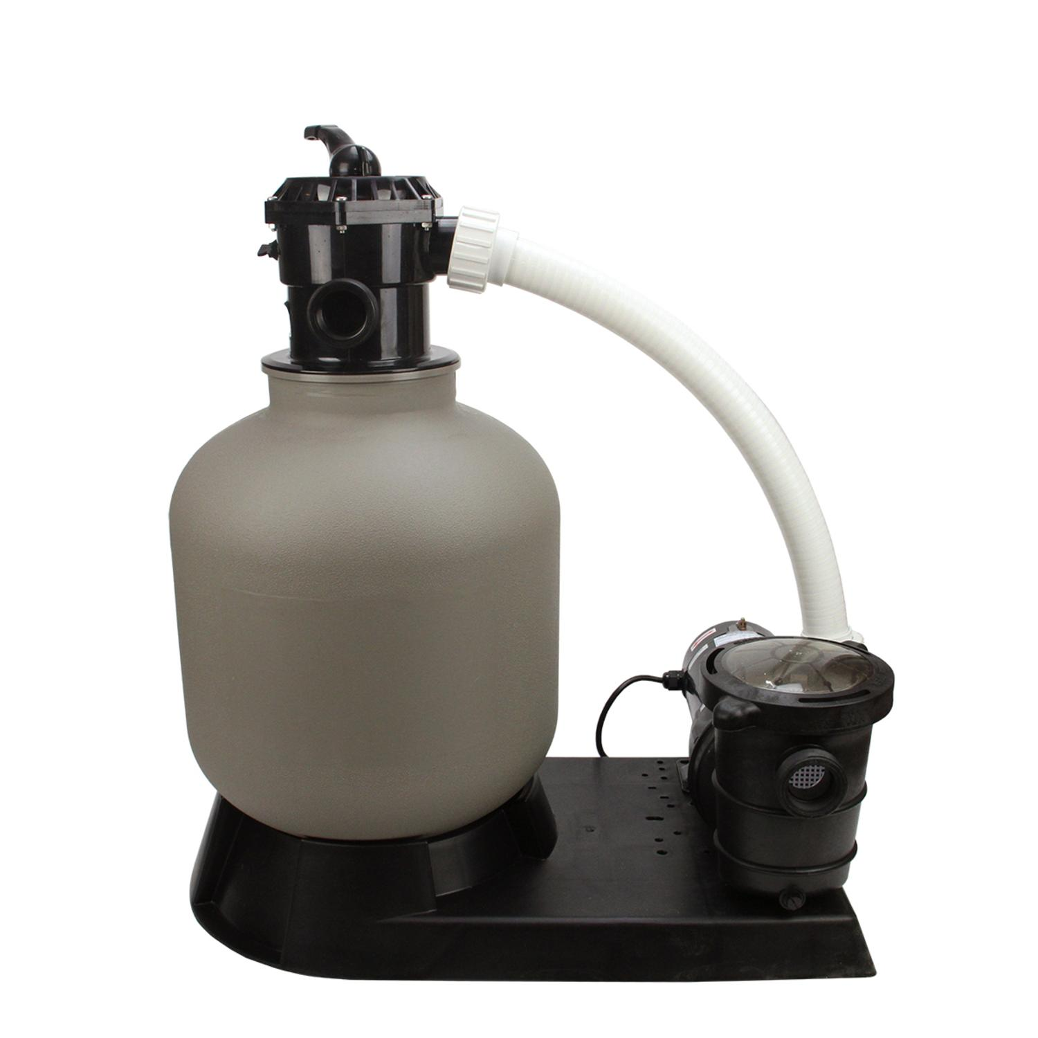 "19"" Top-Mount Above-Ground Swimming Pool and Spa Sand Filter and 1 HP Pump System"