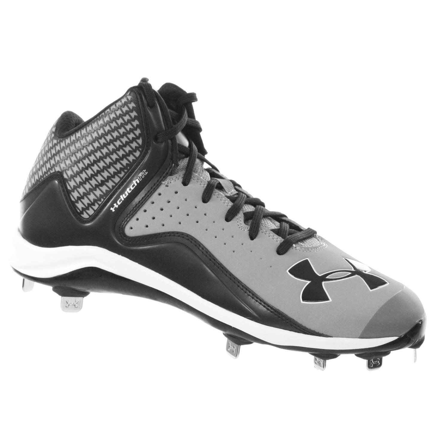 UNDER ARMOUR YARD MIST ST MEN'S METAL BASEBALL CLEATS GREY BLACK 11.5