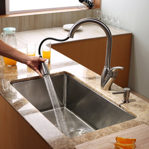 Kraus 30'' x 18'' Undermount Kitchen Sink with Faucet and Soap Dispenser