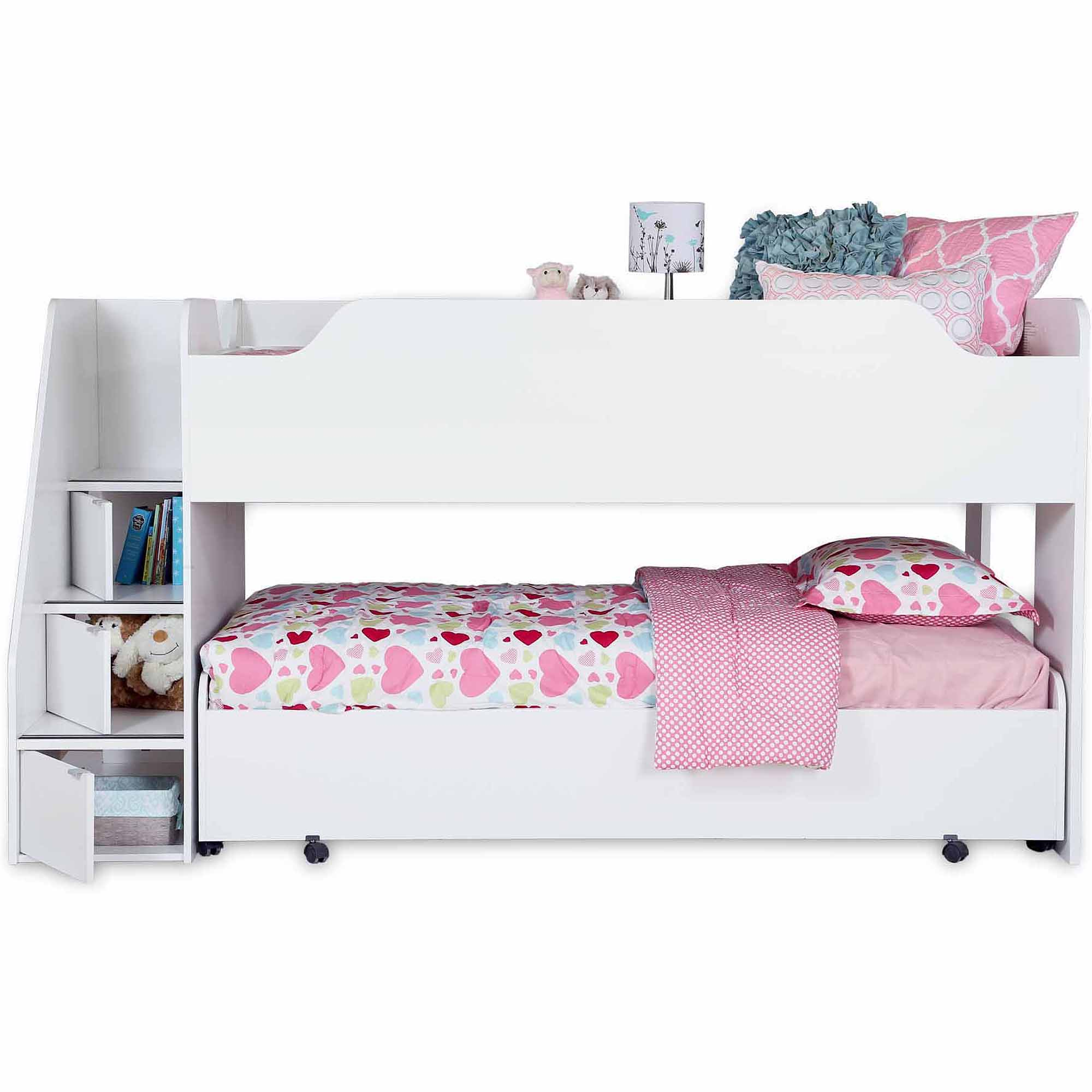 South Shore Mobby Twin Trundle Bed on Casters, Multiple Finishes