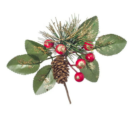 Darice Christmas Green Gold Pick with Berry and Pinecones Glitter 6.3 X 2.76Inches