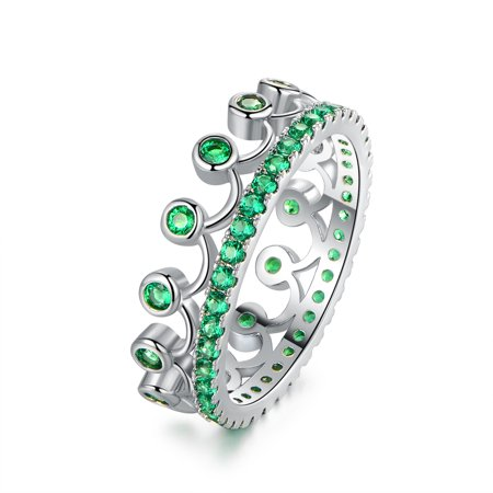 18k White Gold Princess Crown Ring With Emerald Accents And Swarovski Crystals