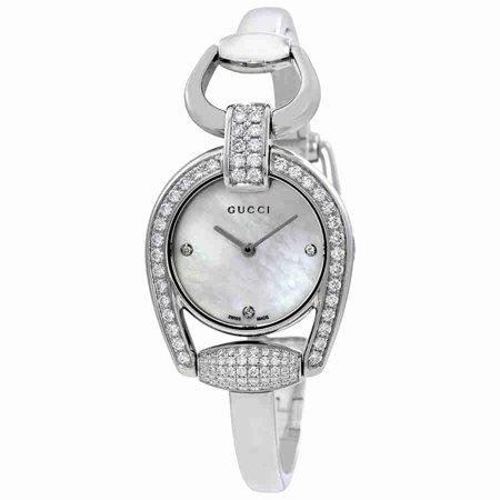 6894cb19746 Gucci - Horsebit Mother of Pearl Diamond Dial Ladies Bangle Watch YA139505  - Walmart.com