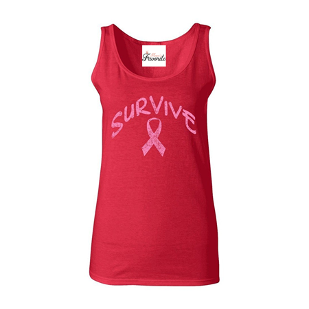 Survive Pink Ribbon Women's Tank Top Breast Cancer Awareness Tank Tops