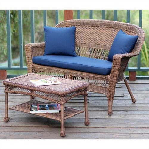 Jeco Wicker Patio Love Seat and Coffee Table Set in Honey with Blue Cushion