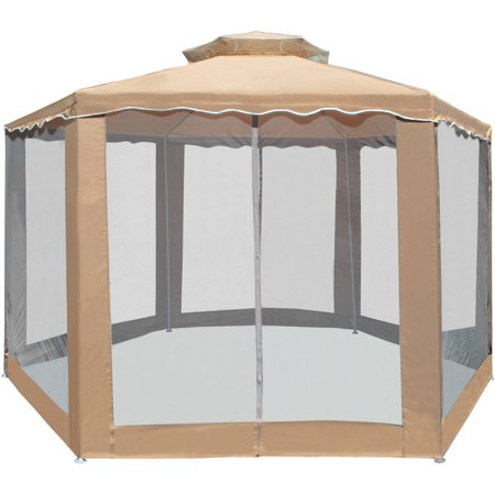 Aleko gz2rwn6x6x6sd double roof hexagon patio gazebo with - Small gazebo with netting ...