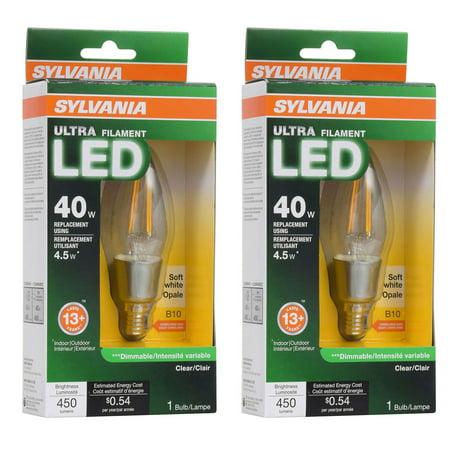 Sylvania Filament LED 40W Candelabra Base Dimmable 2700K Light Bulb (2 Pack)
