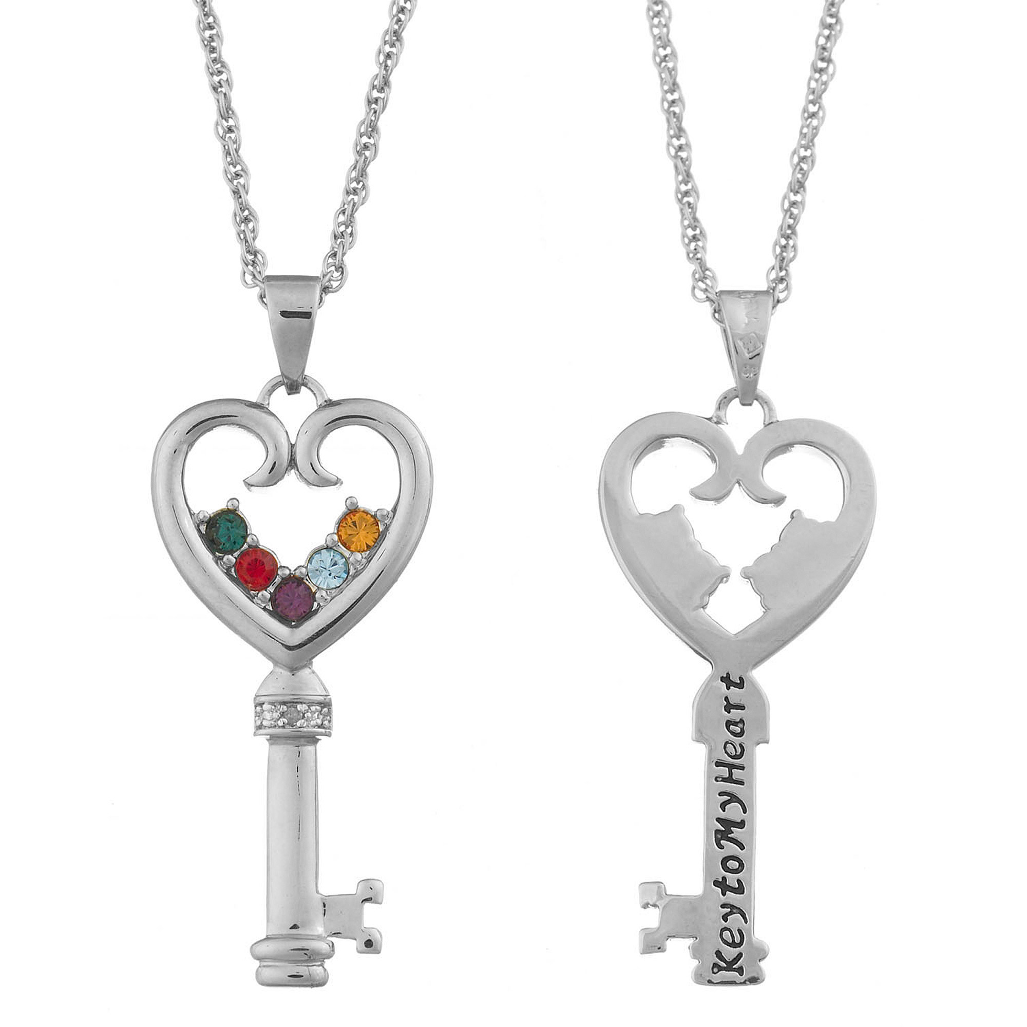 """Family Jewelry Personalized Mother's Silver-Tone or Gold-Tone Family Birthstone """"Key to My Heart"""" Necklace"""