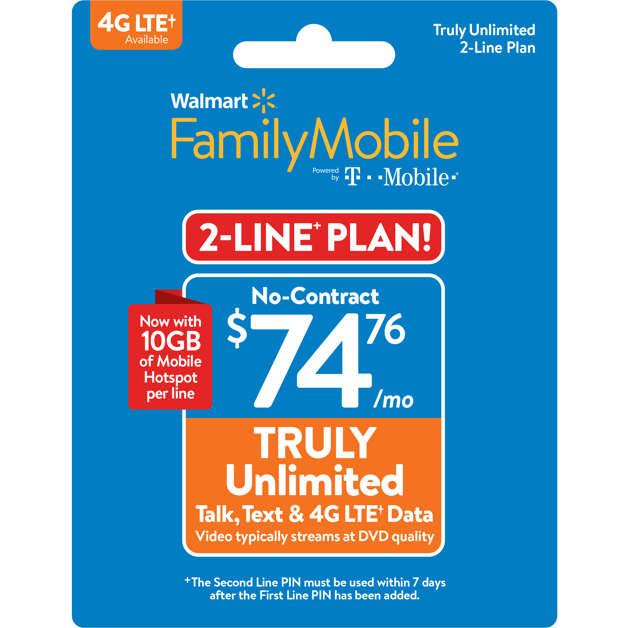 Walmart Family Mobile 74 76 Truly Unlimited 2 Line Plan W 10gb Of Mobile Hotspot Per Line Email Delivery Walmart Com