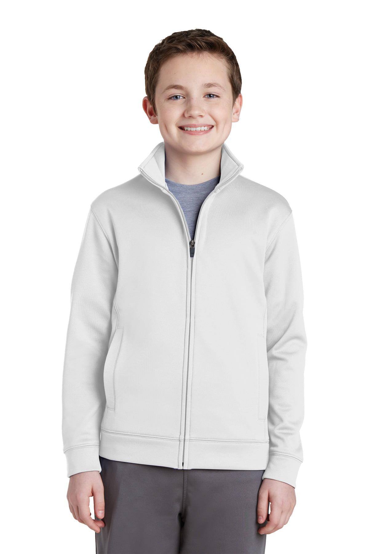 Sport-Tek YST241 Youth Sport-Wick Fleece Full-Zip Jacket, Black, XS
