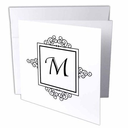 3dRose Initial letter M personal monogrammed fancy black and white typography elegant stylish personalized, Greeting Cards, 6 x 6 inches, set of