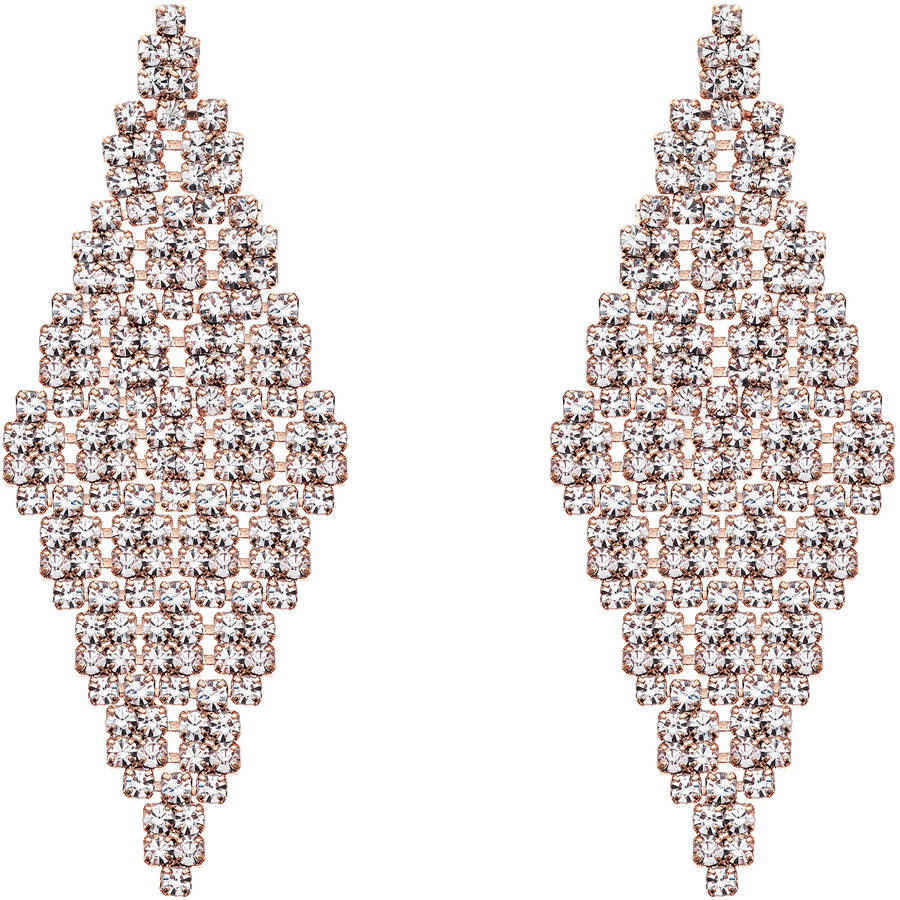X & O Handset Austrian Crystal 14kt Rose Gold-Plated Large Diamond-Tiled Earrings