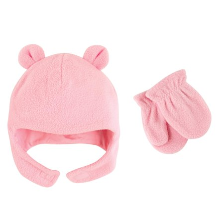 Luvable Friends Toddler Girl Fleece Hat & Mittens 2pc Set