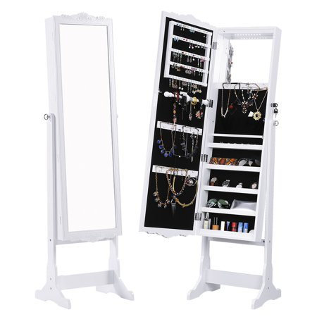 Over the Door Mirrored Jewelry Armoire with 10 Automatic LED Lights and Full-Length Mirror ()