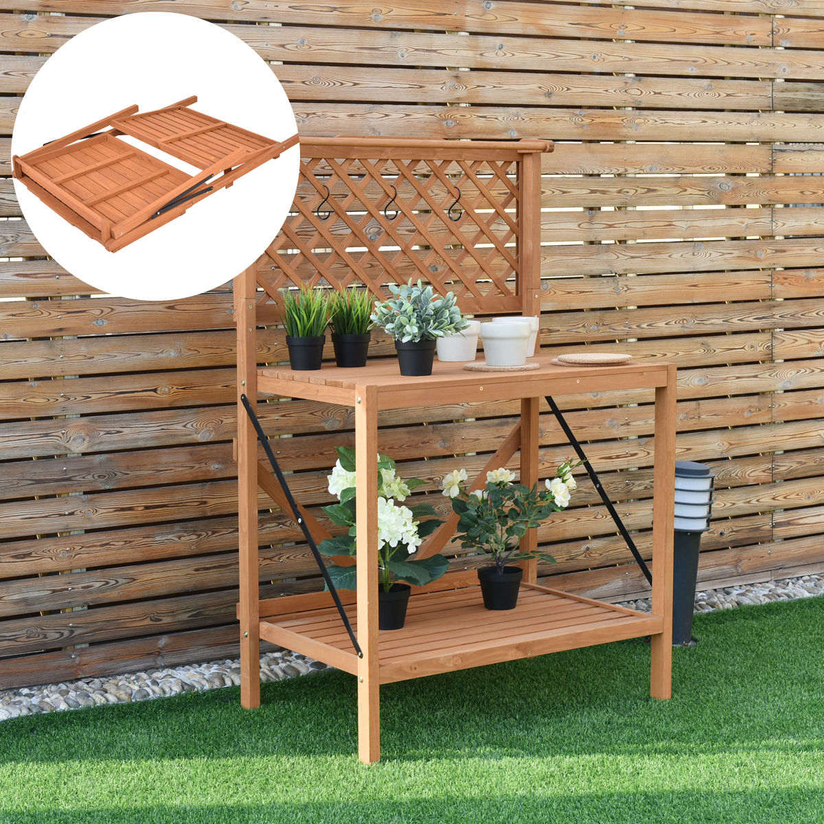 Costway Folding Wood Potting Bench Planting Workstation Shelf W/Top Handing Bar & Hook
