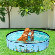 WiseWater Foldable Dog Bath Pool 63x12 inch, Portable Outdoor Doggie Bath, Collapsible Pool for Kids and Pets, Leakproof PVC Pool
