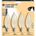 4-Pack GE 40 Watt Crystal Clear Decorative Bent Tip Chandelier Light Bulb
