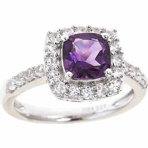 Amethyst and Created White Sapphire Sterling Silver Ring, Size 7