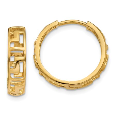 14K Yellow Gold Greek Key Hinged Hoop Earrings (15mm x 16mm)