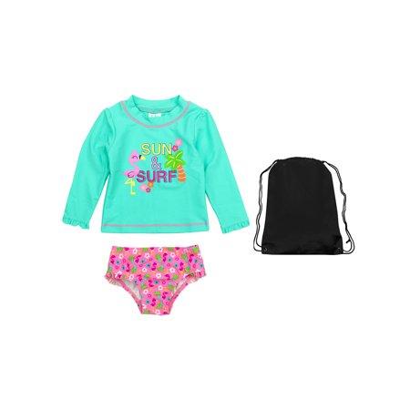 1e2771b564c8a Kiko & Max - Kiko & Max Navy Sun and Surf Rash Guard Shirt Striped Ruffle  Swim Bottoms and Bag 2T - Walmart.com