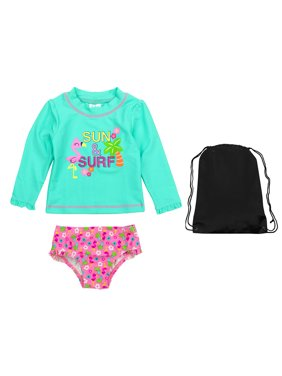 c3d94020be Product Image Kiko   Max Girls Sun and Surf Rash Guard 2 PC Swimsuit with  Bag Aqua Pink
