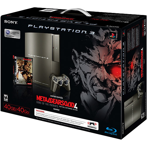 PlayStation 3 40GB Limited Edition Kojima Silver Bundle w/ Metal Gear Solid 4