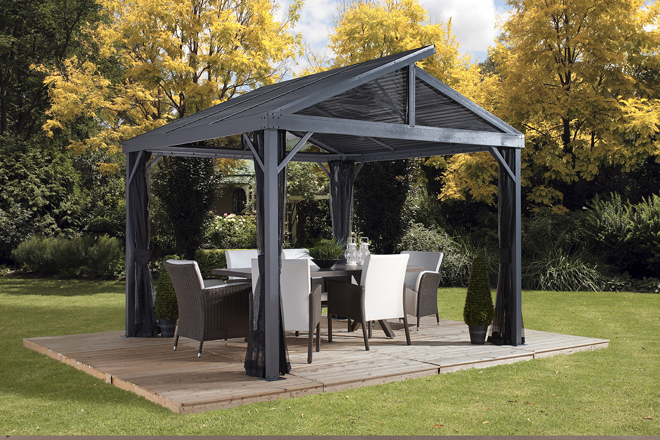 Sojag SANIBEL II 10x10 Gazebo, galvanised steel roof & mosquito netting by SOJAG