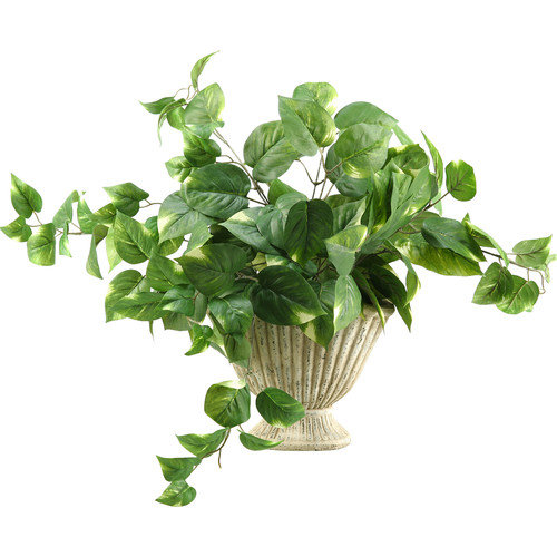 D&W Silks Pothos Ivy Silk Plant with Ceramic Planter