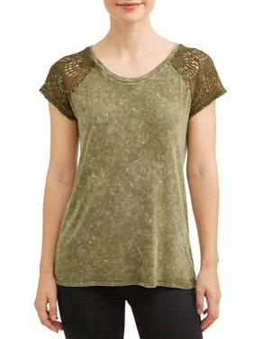 0745fba3 Product Image Women's Lace Cap Sleeve T-Shirt