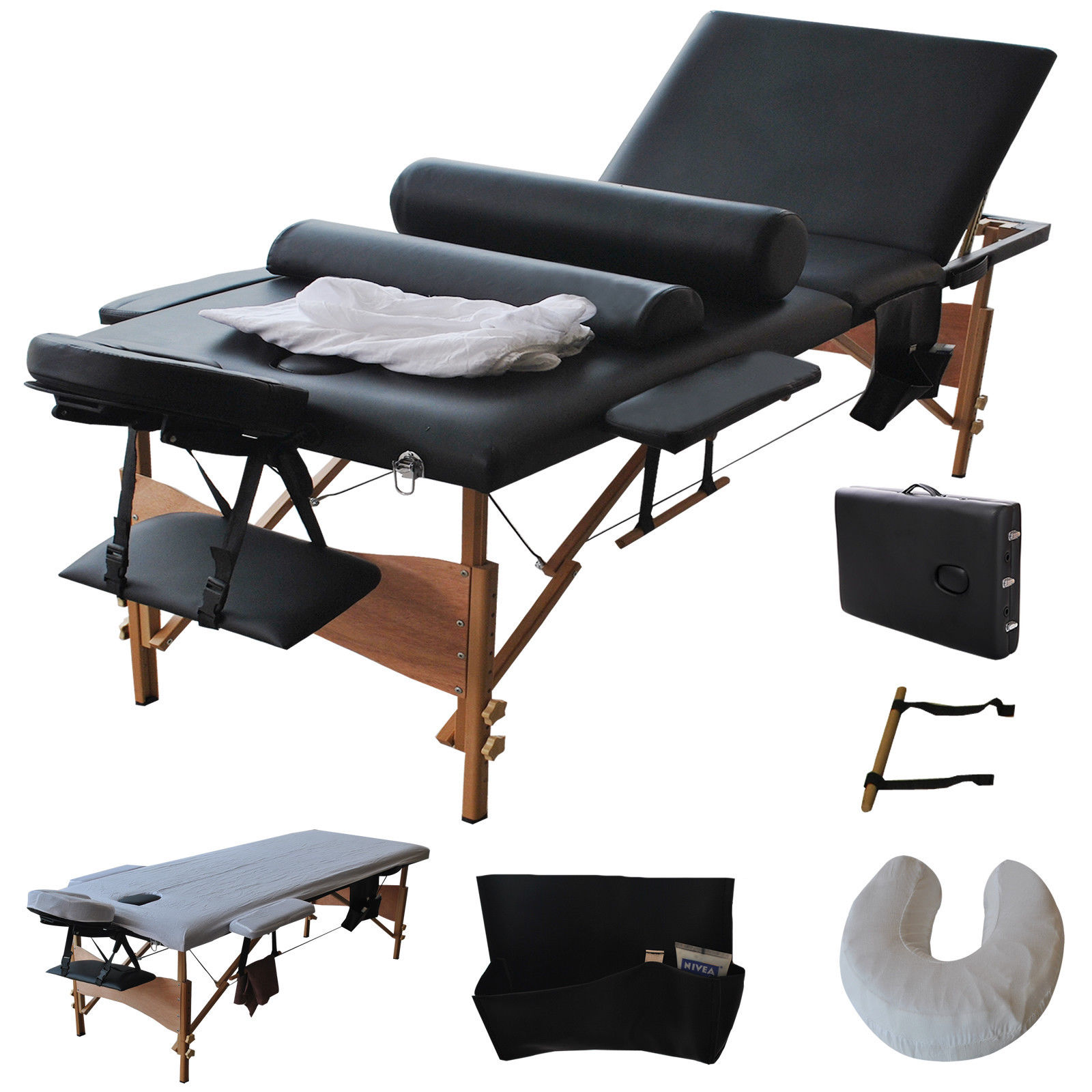 "Costway  84""l 3 Fold Massage Table Portable Facial Bed W/sheet+cradle Cover+2 Bolster (Black)"