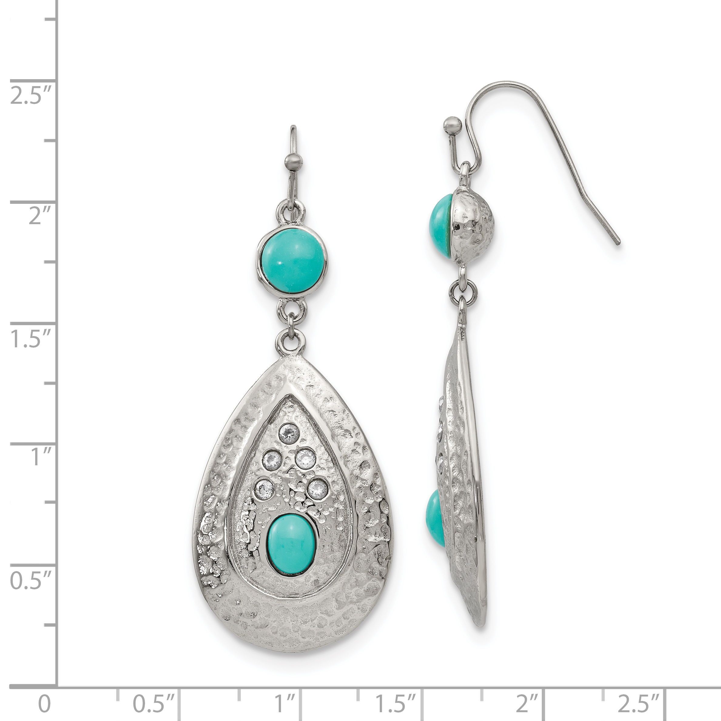 Stainless Steel Polished/Hammered Imitation Turquoise/CZ Earrings - image 2 of 4