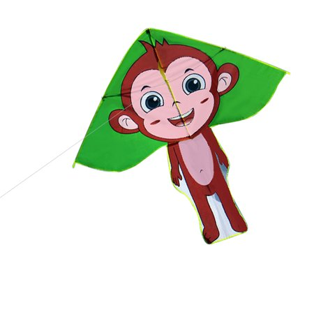 Colorful Cartoon Monkey Delta Kite Outdoor Sport Single Line Flying Kite with 30m Flying Line for Kids Adults