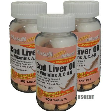 3 PCK Cod Liver Oil Vitamin A,C & D 100 Chewable TB each bottle by Mason